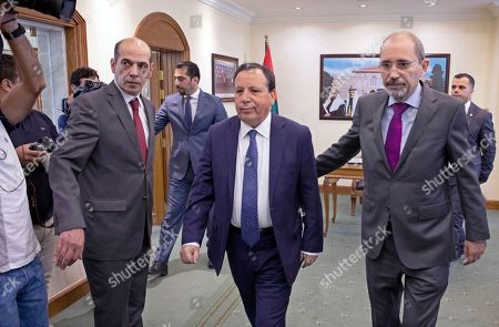 Tunisian Foreign Affairs Minister Khemaies Jhinaoui (C) arrives with his Jordanian counterpart Ayman Safadi for a meeting at the Foreign Ministry in Amman, Jordan, 09 September 2019.