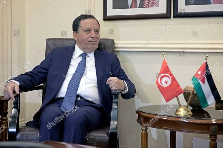 Tunisian Foreign Affairs Minister Khemaies Jhinaoui looks on during a meeting with his Jordanian counterpart Safadi at the Foreign Ministry in Amman, Jordan, 09 September 2019.