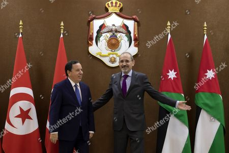 Jordanian Foreign Minister Ayman Safadi (R) welcomes his Tunisian counterpart Khemaies Jhinaoui, at the Foreign Ministry in Amman, Jordan, 09 September 2019.