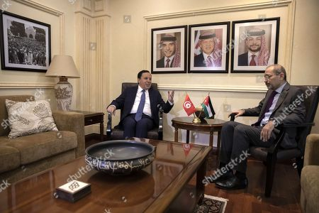 Tunisian Foreign Minister Khemaies Jhinaoui (L) meets with his Jordanian counterpart Ayman Safadi, at the Foreign Ministry in Amman, Jordan, 09 September 2019.