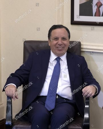 Tunisian Foreign Minister Khemaies Jhinaoui smiles during a meeting with his Jordanian counterpart Ayman Safadi, at the Foreign Ministry in Amman, Jordan, 09 September 2019.