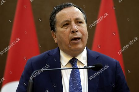 Tunisian Foreign Minister Khemaies Jhinaoui speaks during a short statement with his Jordanian counterpart at the Foreign Ministry in Amman, Jordan, 09 September 2019.