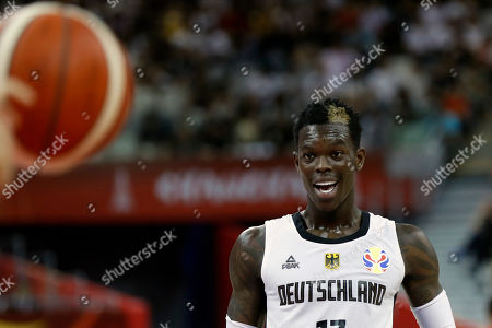 Stock Picture of Dennis Schroder of Germany reacts during the FIBA Basketball World Cup 2019 Classification round group P match between Germany and Canada in Shanghai, China, 09 September 2019.