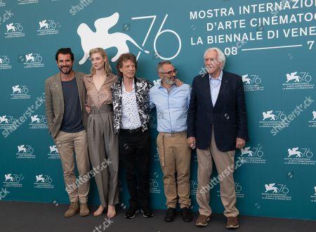 Stock Photo of Claes Bang, Elizabeth Debicki, Mick Jagger, Giuseppe Capotondi and Donald Sutherland
