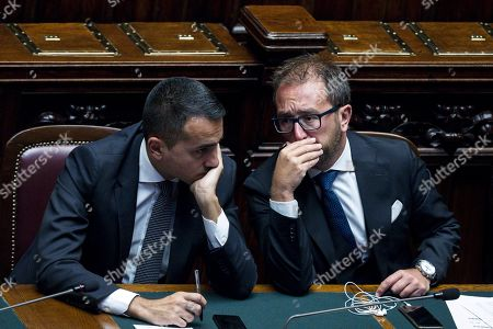 Italian Foreign Minister Luigi Di Maio (L) with Italian Minister of Justice Alfonso Bonafede during Italian premier Giuseppe Conte's address to the Lower House ahead of a confidence vote, in Rome, Italy, 09 September 2019. Conte presented on the day his new government's programme in the Lower House ahead of the first of two confidence votes that the executive is set to face in parliament. His new government is a coalition between the anti-establishment 5-Star Movement (M5S) and the center-left Democratic Party (PD).