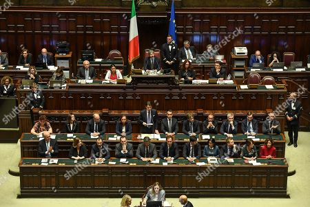 Italy's Ministers (L-R, second row) Teresa Bellanova (Agriculture), Paola De Micheli (Transport), Roberto Gualtieri (Economy), Luciana Lamorgese (Interior), Giuseppe Conte (Premier), Luigi Di Maio (Foreign Affairs), Dario Franceschini (Culture), Alfonso Bonafede (Justice), Lorenzo Guerini (Defense), Enzo Amendola (European Affairs), Lorenzo Fioramonti (Education); (L-R, front row) Fedrico D'Inca (Relations with Parliament), Nunzia Catalfo (Labour), Stefano Patuanelli (Economic Depelopment), Vincenzo Spadafora (Sport), Riccardo Fraccaro (Undersecretary Council Presidency), Francesco Boccia (Regional Affairs), Roberto Speranza (Health), Fabiana Dadone (Public Administration), Peppe Provenzano (South), Elena Bonetti (Family) and Paola Pisano (Technological Innovation), during Giuseppe Conte's speech to the Lower House ahead of a confidence vote, in Rome, Italy, 09 September 2019. Conte presented on the day his new government's programme in the Lower House ahead of the first of two confidence votes that the executive is set to face in parliament. His new government is a coalition between the anti-establishment 5-Star Movement (M5S) and the center-left Democratic Party (PD).