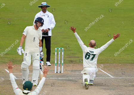 Nathan Lyon of Australia makes an unsuccessful appeal for the wicket of Jason Roy of England during day five of the 4th Specsavers Ashes Test Match, at Old Trafford Cricket Ground, Manchester, England