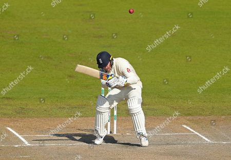 Jason Roy of England avoids a short pitched delivery during day five of the 4th Specsavers Ashes Test Match, at Old Trafford Cricket Ground, Manchester, England