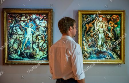 The Spiritual Forms of Pitt and Nelson which had been damaged by time and are temporarily recreated using projection ovelays - William Blake at Tate Britain.