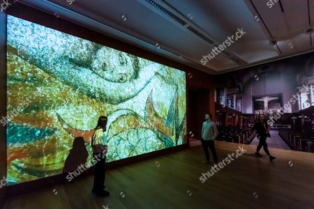 His works re imagined on the grand scale he hoped for, through a projection, in this case The Spiritual Form of Nelson Guilding Leviathon - William Blake at Tate Britain.