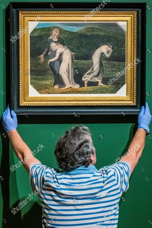 Installation of the final works, Naomi Entreating Ruth and Orpah to return to the land of Moab, c1795 - William Blake at Tate Britain.