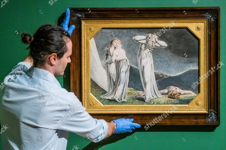 Installation of the final works, Lamech and his two wives, 1795 - William Blake at Tate Britain.