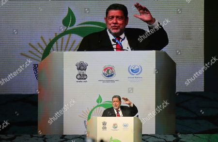 Stock Image of St. Vincent & the Grenadines' Prime Minister Ralph Gonsalves speaks during the opening ceremony of the 14th Session of the Conference of the Parties (COP14) to United Nations Convention to Combat Desertification in Greater Noida, India
