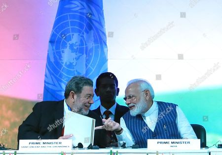 Prime Minister of Saint Vincent and the Grenadines Ralph Gonsalves (L) and Indian Prime Minister Narendra Modi (R) present during the United Nations Convention to Combat Desertification (UNCCD) in Greater Noida, India, 09 September 2019. United Nations Convention to Combat Desertification (UNCCD) runs from 02 September 2019 to 13 September 2019.