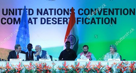 Stock Photo of Prime Minister of Saint Vincent and the Grenadines Ralph Gonsalves (L), Indian Prime Minister Narendra Modi (2-L), Indian Minister of Environment, Forest and Climate Change Prakash Javadekar (2-R) and UN Deputy Secretary General Amina Mohammed (R) attend the United Nations Convention to Combat Desertification (UNCCD) in Greater Noida, India, 09 September 2019. United Nations Convention to Combat Desertification (UNCCD) runs from 02 September 2019 to 13 September 2019.