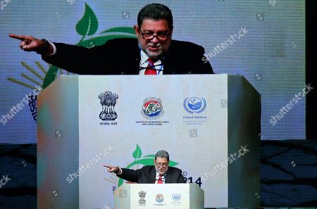 Prime Minister of Saint Vincent and the Grenadines Ralph Gonsalves speaks during the United Nations Convention to Combat Desertification (UNCCD) in Greater Noida, India, 09 September 2019. United Nations Convention to Combat Desertification (UNCCD) runs from 02 September 2019 to 13 September 2019.