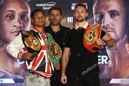 Regis Prograis (L) and Josh Taylor during a Press Conference at the Park Plaza on 9th September 2019
