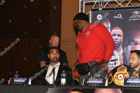 Dereck Chisora walks out during a Press Conference at the Park Plaza on 9th September 2019
