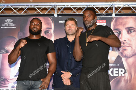 Stock Image of Yves Ngabu (L) and Lawrence Okolie during a Press Conference at the Park Plaza on 9th September 2019