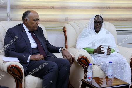 Egyptian Foreign Minister Sameh Shoukry (L) meets with the newly-appointed Sudanese Foreign Minister Asma Mohamed Abdalla (R) in Khartoum, Sudan, 09 September 2019. Shoukry arrived in Sudan one day after the new government of Prime Minister Abdalla Hamdok was sworn-in, becoming the first cabinet since the ousting of former president Omar Bashir.