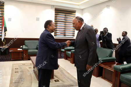 Egyptian Foreign Minister Sameh Shoukry (R) meets with Sudanese Prime Minister Abdalla Hamdok (L) in Khartoum, Sudan, 09 September 2019. Shoukry arrived in Sudan one day after the new government of Prime Minister Abdalla Hamdok was sworn-in, becoming the first cabinet since the ousting of former president Omar Bashir.