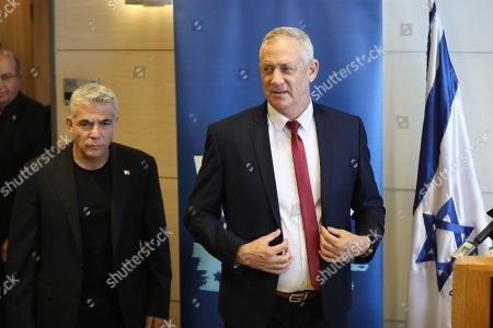 Leaders of the Blue and White political alliance, former chief of staff of the Israeli army, Benny Gantz (R) and former finance minister Yair Lapid (L) arrive for a press conference in the Knesset, the Israeli Parliament, in Jerusalem, Israel, 09 September 2019. Israeli legislative elections will be held on 17 September.