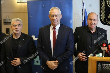 Leaders of the Blue and White political alliance, former chief of staff of the Israeli army, Benny Gantz Benny Gantz (C), former finance minister Yair Lapid (L) and former defense minister and member of the Knesset, Moshe Ya'alon (R), during a press conference in the Knesset, the Israeli Parliament, in Jerusalem, Israel, 09 September 2019. Israeli legislative elections will be held on 17 September.
