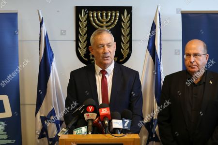 Leaders of the Blue and White political alliance, former chief of staff of the Israeli army, Benny Gantz (C) and former defense minister and member of Knesset, Moshe Ya'alon (R), during a press conference in the Knesset, the Israeli Parliament, in Jerusalem, Israel, 09 September 2019. Israeli legislative elections will be held on 17 September.