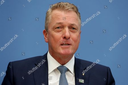 Stock Image of Thomas Linemayr, CEO of the coffee retailer 'Tchibo', attends a press conference in Berlin, Germany