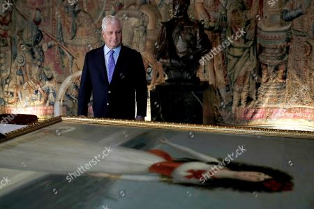 Spanish aristocrat Don Carlos Fitz-James Stuart and Martinez de Irujo, Duke of Alba, looks at the artwork of the Spanish painter Goya, 'Duchess of Alba' (lit. La duquesa se Alba) in the Palace of Liria in Madrid, Spain, 09 September 2019. This and other artworks made by national painters, have returned to the Palace of Liria after being borrowed to the Thyssen Museum for the exposition 'Balenciaga and Spanish painting'.