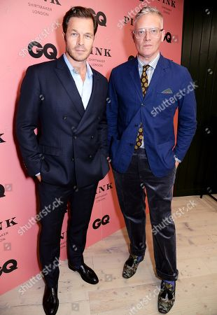Paul Sculfor and Giles Deacon wearing Pink Shirtmaker