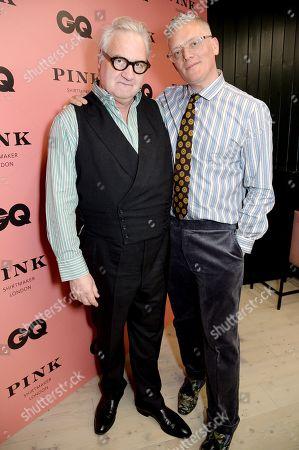 John Ray and Giles Deacon wearing Pink Shirtmaker