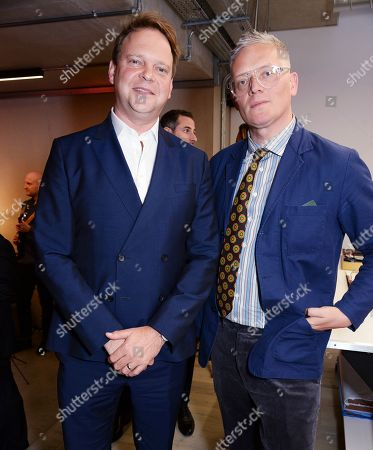 Nick Sargent and Giles Deacon wearing Pink Shirtmaker