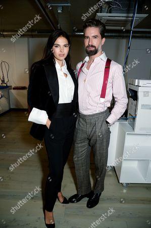 Doina Ciobanu and Jack Guinness wearing Pink Shirtmaker