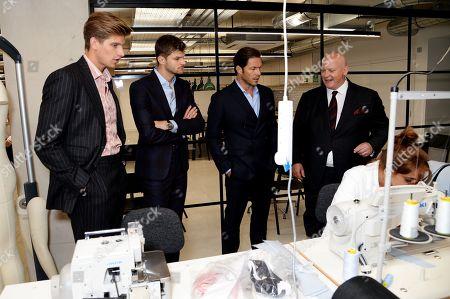 Toby Huntington-Whiteley, Jim Chapman, Paul Sculfor wearing Pink Shirtmakers and Christopher Zanardi-Landi