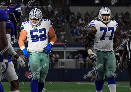 Dallas Cowboys offensive guard Connor Williams #52 and Dallas Cowboys offensive tackle Tyron Smith #77 during an NFL game between the New York Giants and the Dallas Cowboys at AT&T Stadium in Arlington, TX Dallas defeated New York 35-17 Albert Pena/CSM