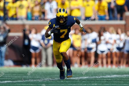 Michigan wide receiver Tarik Black runs a route against Army in the first half of an NCAA college football game in Ann Arbor, Mich