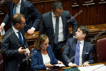 Minister of Justice Alfonso Bonafede, Minister of Interior Luciana Lamorgese, Minister of Foreign Affairs Luigi Di Maio, Prime Minister Giuseppe Conte during his address to the House of Representatives ahead of a confidence vote
