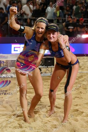 Margareta Kozuch and Laura Ludwig (GER) celebrate during the women's gold medal final award ceremony at Beach Volley Rome World Tour Finals