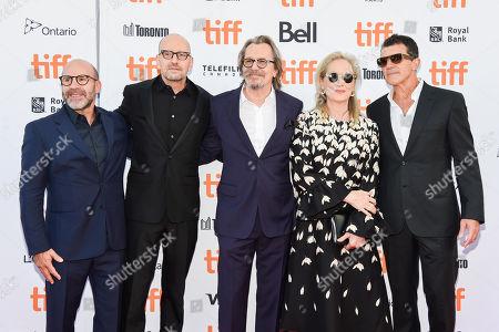 Scott Z Burns, Steven Soderbergh, Gary Oldman, Meryl Streep, and Antonio Banderas