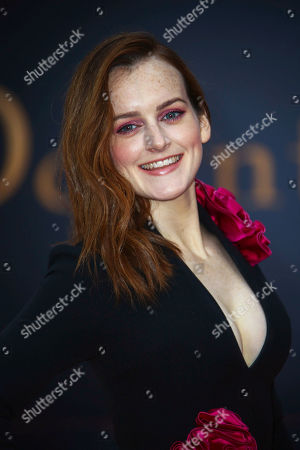 Sophie McShera. Actress poses for photographers upon arrival at the World premiere of the film 'Downton Abbey' in central London