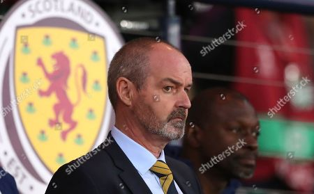Stock Picture of Scotland head coach Steve Clark watches from the sidelines during the Euro 2020 group I qualifying soccer match between Scotland and Belgium at Hampden Park stadium in Glasgow