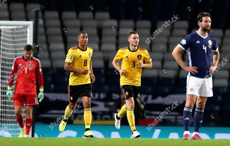 Belgium's Thomas Vermaelen, second right, after scoring his sides second goal during the Euro 2020 group I qualifying soccer match between Scotland and Belgium at Hampden Park stadium in Glasgow