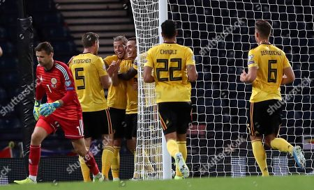 Teammates celebrate after Belgium's Thomas Vermaelen scored their sides second goal during the Euro 2020 group I qualifying soccer match between Scotland and Belgium at Hampden Park stadium in Glasgow