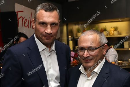 The Mayor of Kiev, Vitali Klitschko (L) and exiled Russian businessman, Mikhail Khodorkovsky, attend the 'BILD100 summer party' event in Berlin, Germany, 09 September 2019. 100 of the most important decision-makers from politics and business as well as well-known personalities from sports, art and culture are expected at the event held by Germany's highest-circulation newspaper BILD.