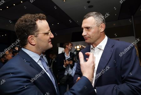 Stock Picture of The Mayor of Kiev, Vitali Klitschko (R) and German Health Minister, Jens Spahn, attend the 'BILD100 summer party' event in Berlin, Germany, 09 September 2019. 100 of the most important decision-makers from politics and business as well as well-known personalities from sports, art and culture are expected at the event held by Germany's highest-circulation newspaper BILD.