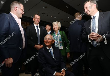Vice-chairman of Axel Springer SE Friede Springer (C), the President of the German Parliament Wolfgang Schaeuble (C) and BILD Editor-in-Chief Julian Reichelt (L), attend the 'BILD100 summer party' event in Berlin, Germany, 09 September 2019. 100 of the most important decision-makers from politics and business as well as well-known personalities from sports, art and culture are expected at the event held by Germany's highest-circulation newspaper BILD.