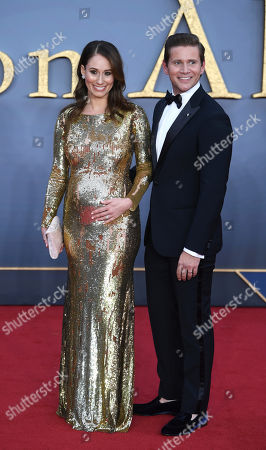 Allen Leech (R) and wife Jessica Herman (L) attend the World Premiere of 'Downton Abbey' at Leicester Square in Lonâ??don, Britain, 09 September 2019. The movie, based on the hit television show, is released in UK cinema on 13 September 2019.
