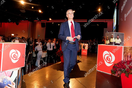 Stock Picture of Leader of The Labour Party Jonas Gahr Store arrives at the Labour Party's election vigil in Oslo, Norway, 09 September 2019. Local elections took place in Norway on 09 September.