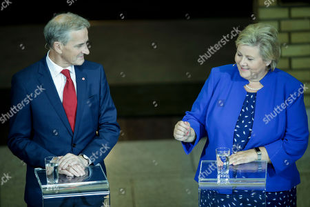 Stock Photo of Party leader's debate after the election. Leader of Labour Party Jonas Gahr Store, and Prime Minister Erna Solberg attend a debate, Oslo, Norway, 09 September 2019.